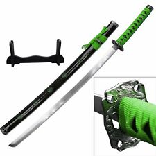 ZOMBIE HUNTER GREEN Katana NINJA SAMURAI Sword BIOHAZARD TSUBA Carbon Steel -F