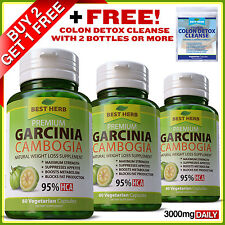 60 Capsules Ultra Pure Garcinia Cambogia 3000mg Daily 95% HCA Weight Loss Diet