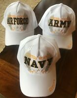 US U.S. MILITARY EMBROIDERED ADJUSTABLE WHITE BALL CAP HAT ARMY NAVY AIRFORCE