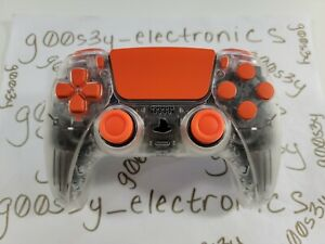 New Frosted Clear Sony PS5 DualSense Wireless Controller w/ Orange Accents