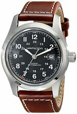 Hamilton H70555533 Khaki Field Automatic Brown Leather Strap Date Watch