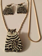 White Black Stripes 22KTGP Laurel Burch Shamballa Kitty Cat Pendant/Earring Set