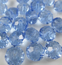 Diy Jewelry Faceted 100pcs 4*6mm Rondelle glass Crystal Beads Light blue