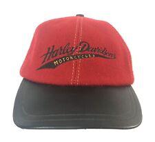 7cfa334c2ce82 VTG Harley Davidson Hat Leather Strapback Wool Biker Trucker Made USA 6  Panel