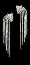 White Long Chandelier Fancy Earring 925 Sterling Silver Cocktail Party Jewelry
