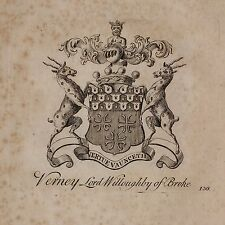 1779 ANTIQUE PRINT ~ VERNEY ~ FAMILY CREST COAT OF ARMS LORD WILLOUGHBY OF BROKE