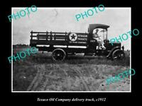 OLD POSTCARD SIZE PHOTO OF TEXACO OIL COMPANY DELIVERY TRUCK c1912
