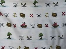 Pirate Theme Cotton Flat Twin Sheet Skull Crossbones Treasure Chest 26567