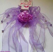 2 x ORGANZA, DIAMONTE HAIR TIE, Purple, Ponytail, Bow, 5 to 20cm Length