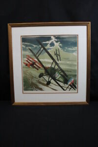 """Framed Merv Corning """"The Red Baron"""" Signed 96/300 Numbered Lithograph 1976"""