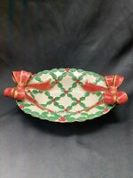 Vintage Fitz And Floyd 1994 Christmas Holly And Bows Bowl Dish