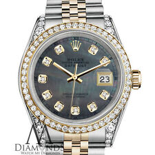 Rolex Stainless Steel Gold 36mm Datejust Watch Black MOP Color Diamond Dial RT