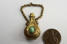Shaped Vinaigrette Pomander Charm Antique Pinchbeck Turquoise Scent Bottle