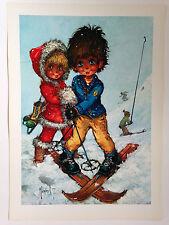 ILLUSTRATION MICHEL THOMAS POULBOT - LES JEUNES SKIEURS / EDITIONS KRISARTS 1970