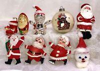 14/pc lot VTG Santa/Mrs Claus Red Flocked Styrofoam Skating Nesting Silver-plate