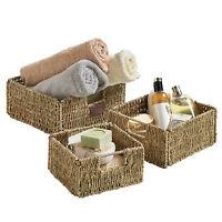 VonHaus Seagrass Wicker Storage Baskets Set of 3 Tidy Organisers Gift Hamper