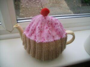 Hand knitted  Cupcake tea cosy medium teapot  3-4 cup teapot  Pink sprinklies