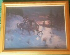 Joe Rader Roberts Western Snow Bank Print 11 x 14 Wooden Frame w Glass Vintage