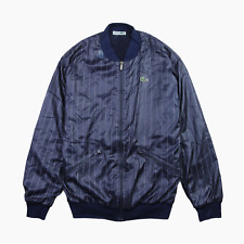 Lacoste Chemise Mens Vintage Stripe Satin Fleece Lined Tennis Bomber Jacket L