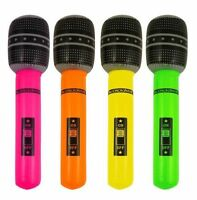 Inflatable Microphone Giant 80s 40cm Blow Up Neon Disco Karaoke Party Mic X99115