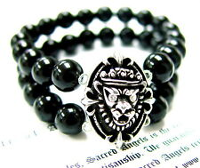 Silver Skull Kings Lion Strech Onyx Bracelet W/ White Diamonds by Sacred Angels