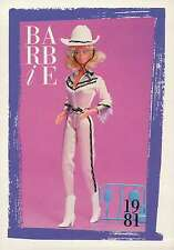 "Barbie Collectible Fashion Trading Card  "" Western Barbie ""  Cowboy Hat 1981"