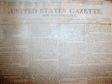 1804 Philadelphia newspaper printed in PRESIDENT THOMAS JEFFERSON administration