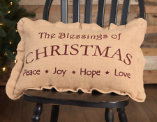 CHRISTMAS BLESSINGS 14x22 PILLOW : PEACE JOY HOPE LOVE HOLIDAY BURLAP CUSHION