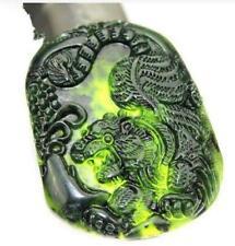 Natural Handmade Dark Green Jade Tiger Pendant