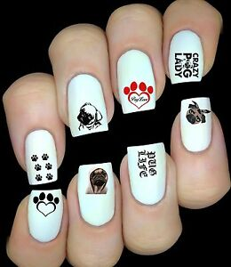 Bulldog Pug Chien  Autocollant Stickers ongles nail art manicure water decal
