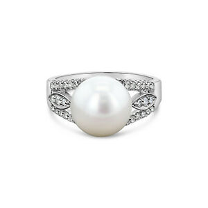 Freshwater Pearl & Diamond Ring - .25cttw - 14k White Gold - 11mm gift for her