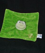 Peluche doudou grenouille plat vert BABYLOVE DM carré trèfle brodé NEUF