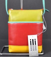 NWT ili World Genuine Leather Top Zip Crossbody Interior Adjust Strap Citrus G5