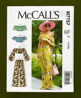 NEW! Off Shoulder Mini Tops & Pants Sewing Pattern (Sizes L, XL) McCalls 7757