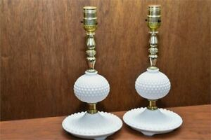 1950s A pair of The Peacock milk glass hobnail lamps in original wrapper and original box Circa