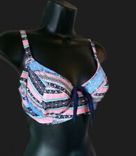 Aztec print underwired bikini top 32DD  (bra/orange/beachwear/bralette/swimwear)