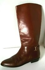 "Vtg 80's Etienne Aigner ""Shelby"" Chestnut Brown Leather Riding Boots 7.5 Brazil"