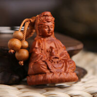 Wood Carving Chinese Feng Shui Geomancy Kwan Guan Yin Statue Key Chain Ring Hi-Q