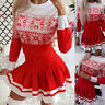 Womens Christmas Print Pleated Dress Long Sleeve Party Casual Mini Dresses S-XL