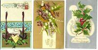 (3) Antique Post Card c. 1905 1908 1912 Christmas Greetings XMAS