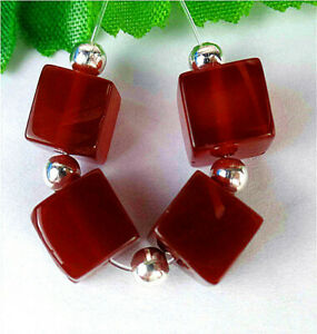 4Pcs 8x8x8mm Red Agate Heigth Hole Cube Bead BV15915