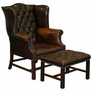 CHESTERFIELD BROWN LEATHER WINGBACK GEORGIAN H-FRAMED ARMCHAIR + FOOTSTOOL