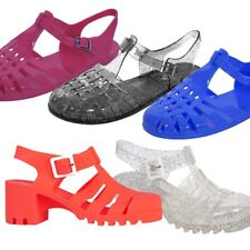 Womens Flat & Heeled Gladiator Jelly Shoes Sandals with Buckle UK Size 3-8