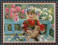 "Oil painting original Art Impressionism Portrait girl cat on canvas 30""x40"""