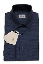 450$ BRIONI Leisure Shirt Cotton + Linen Micro Checks Dark Blue Size S Regular