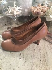 Miz Mooz Anthropology Tan Brown Pumps leather booties shoes sz 10 GREAT!