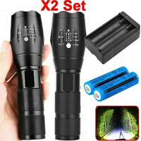 2x 950000LM Super Strong Police T6 LED Torch Light Military Powerful Flashlight