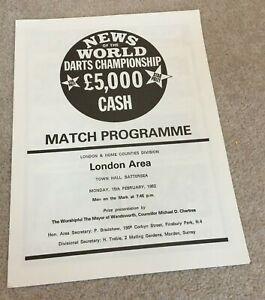 1982 Darts programme London Area Final News of the World Championship