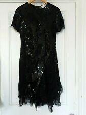 Black Sequin Designer Dress - Meadham Kirchoff for Top Shop - Size 10