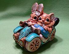 Rare Pendelfin England Woodlander Two Bunnies squeezed into a vintage Automobile
